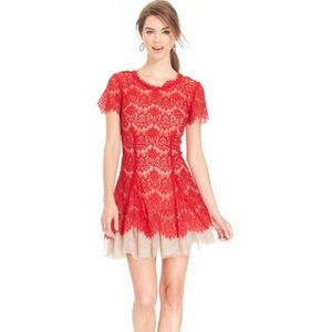 Betsy & Adam Illusion Red Lace Dresss